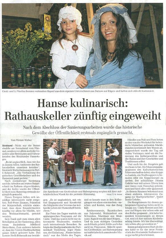 Hanse kulinarisch: Rathauskeller zünftig eingeweiht