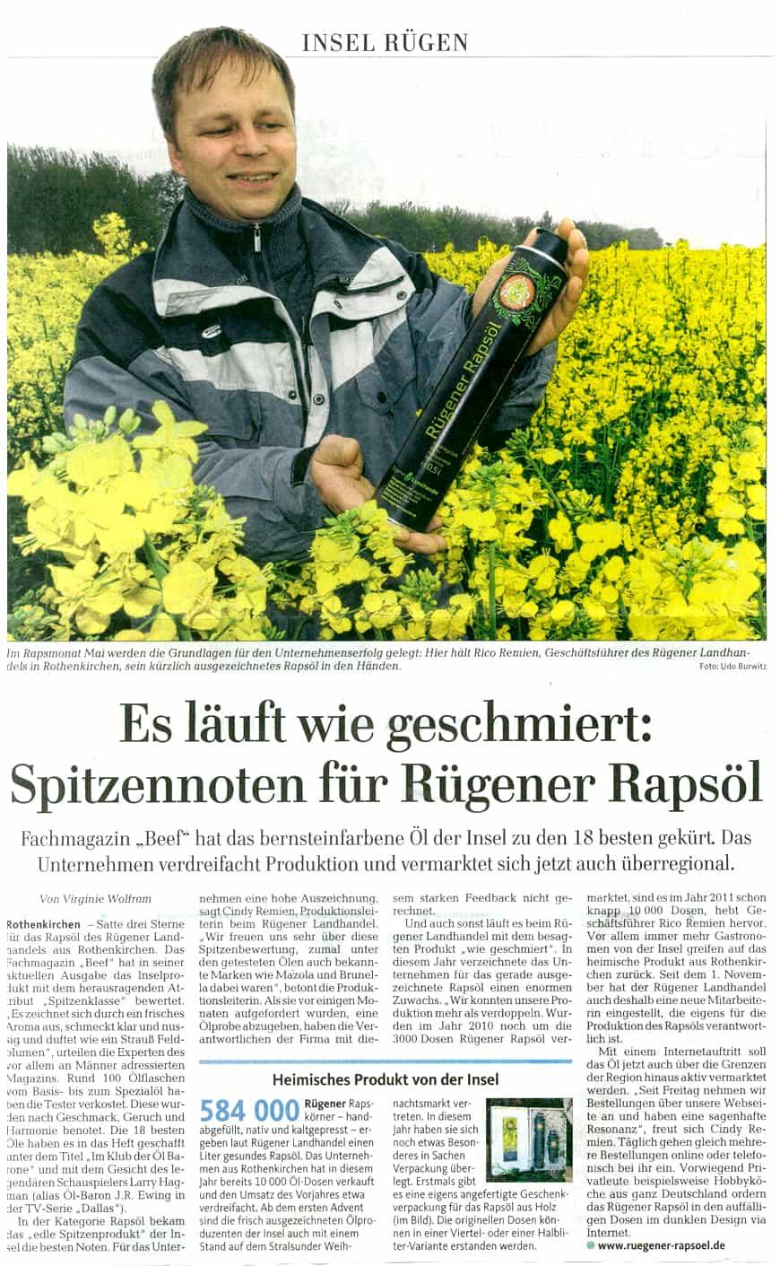 Spitzennoten für Rügener Rapsöl