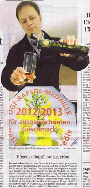 Rügener Rapsöl preisgekrönt