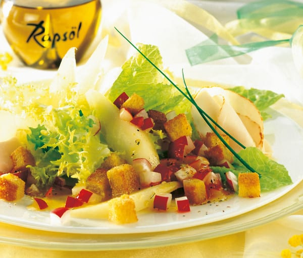 Blattsalat mit Putenbrust und Radieschen