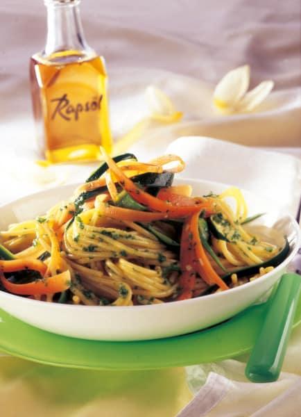 Gemüsespaghetti mit Petersilien-Pesto