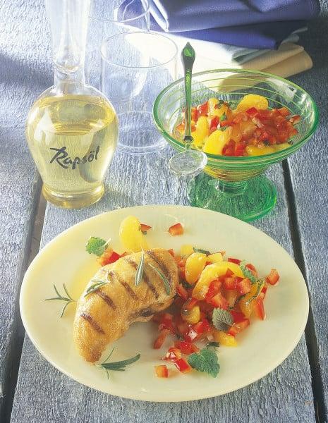 Gegrillte Hähnchenbrust mit Aprikosen-Paprika-Dip