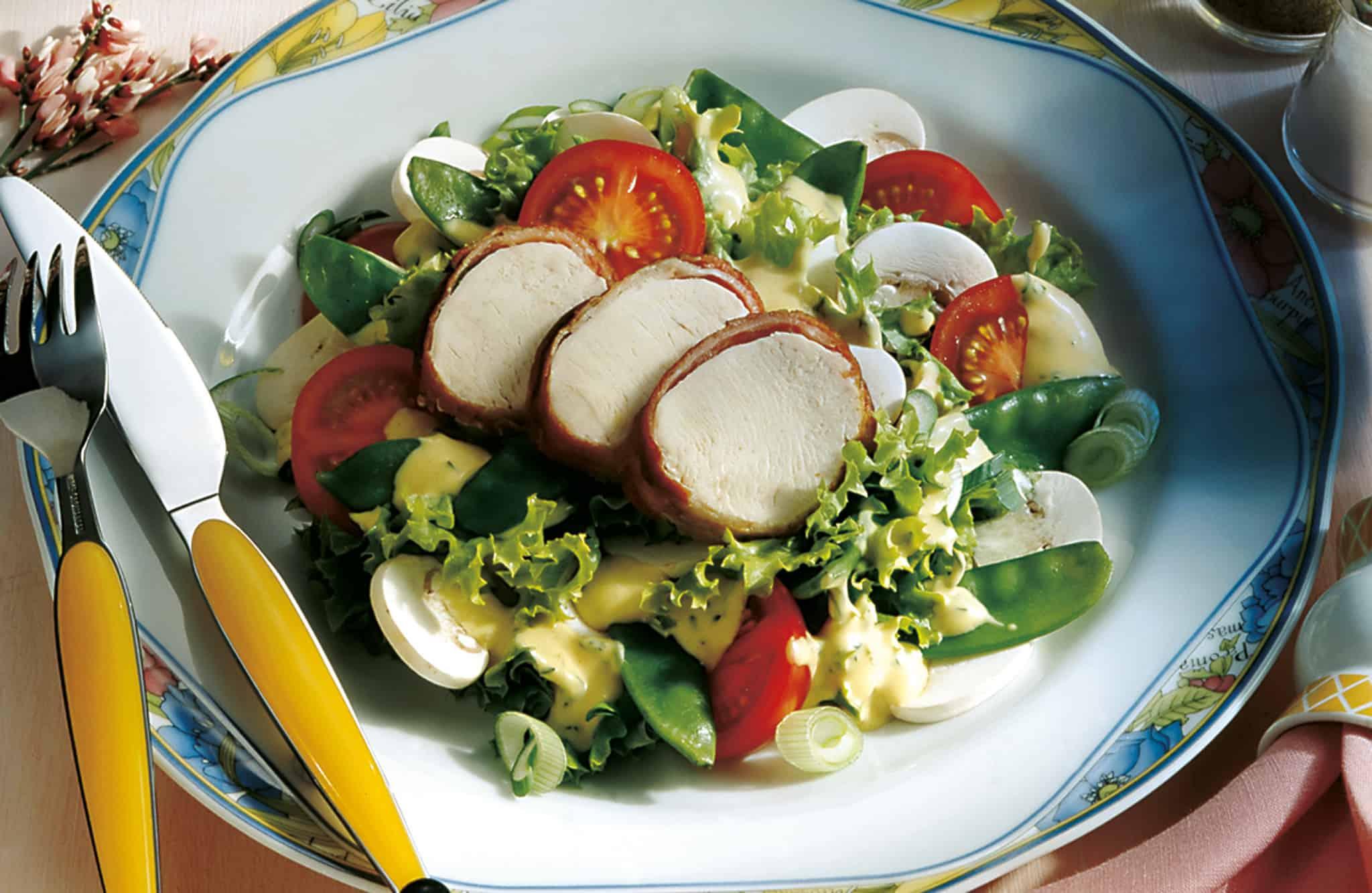 r gener raps l gemischter salat mit honig senf dressing und putenbrust. Black Bedroom Furniture Sets. Home Design Ideas
